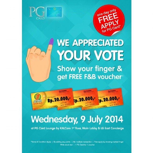 Kota Kasablanka: Promote Your Vote and use PG Card, Get Free F & B Voucher @kotakasablanka