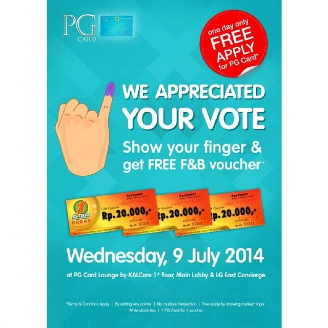 Kota Kasablanka: Promote Your Vote and use PG Card, Get Free F & B Voucher @kotakasablanka