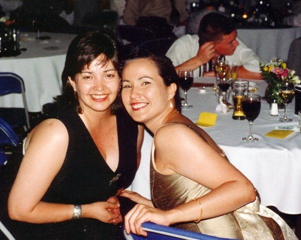 Annie and her cousin Connie at a wedding.