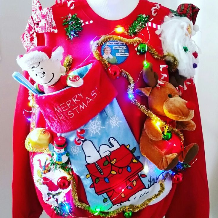 This Ugly Sweater has it ALL! Snoopy, Grinch, Rudolph, Santa, Buddy the Elf, Frosty, Charlie Brown! Making and listing new sweaters every day!