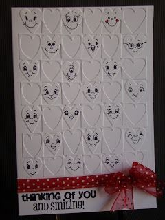By Cassandra. Dry emboss the card front using the hearts folder. Cassandra stamped all the faces, but you could draw them if you wish. Cute!