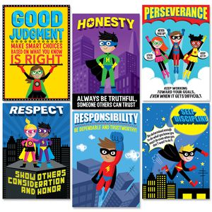 Character Education Superheroes are Dynamite!  The superhero characters on these six inspirational posters will help students learn important character traits: Good Judgement, Honesty, Perseverance, Respect, Responsibility, and Self-Discipline. These posters are perfect for reinforcing anti-bullying messages on school campuses. Great for display in classrooms, hallways, offices, college campuses and more!