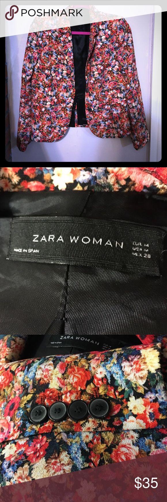 Zara Floral Printed Blazer Multi colored two button blazer with slight shoulder pad Zara Jackets & Coats Blazers