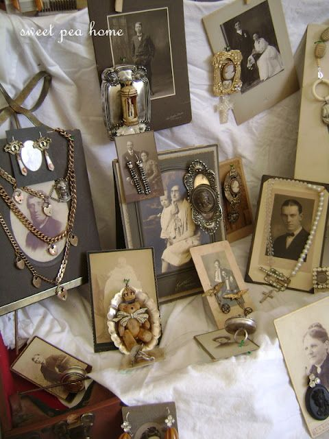 display jewelry on old photos,,, love this idea for vintage jewelry