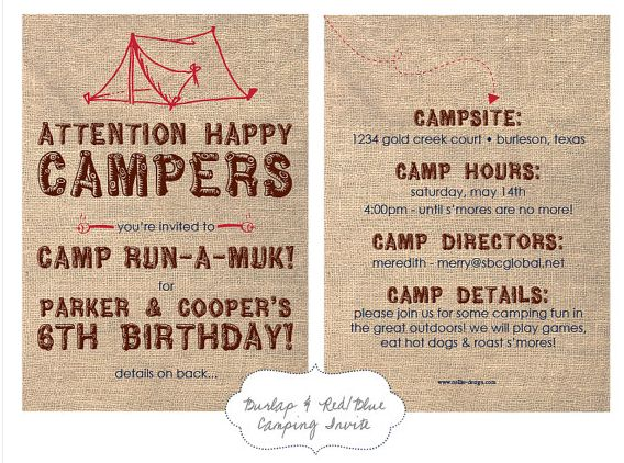 Best 20 Free Printable Camping Birthday Party Invitations