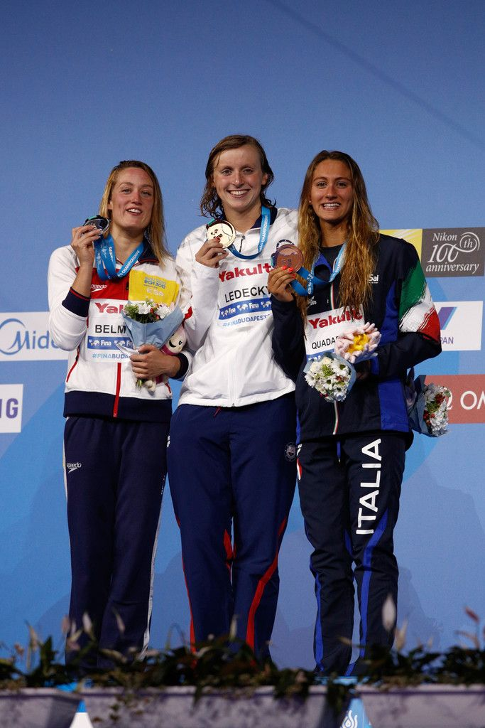 (L-R) Silver medalist Mireia Belmonte of Spain, gold medalist Katie Ledecky of the United States and bronze medalist Simona Quadarella of Italy pose with the medals won during the Women's 1500m Freestyle on day twelve of the Budapest 2017 FINA World Championships on July 25, 2017 in Budapest, Hungary.