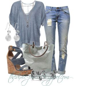 THE BLUE JEAN OUTFIT.....Summer sweaters. Wedge sandals. Summer outfits.  .