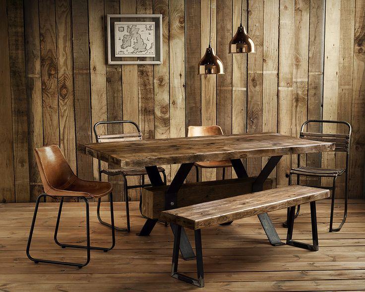 Vintage Industrial Rustic Reclaimed Plank Top Dining Table.. UK