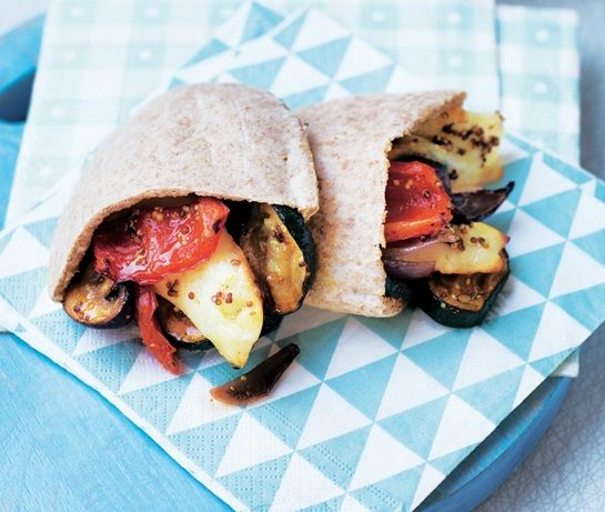vegetarian family recipe for pittas stuffed with roasted halloumi, courgette, mushrooms, onions & peppers