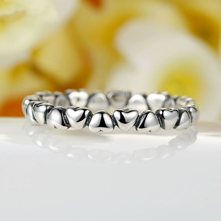 Heart Chain Silver Ring ring made of hearts sterling silver