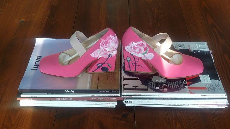 scarpe dipinte a manoda Caterina Borghi Per  RIZIERI
