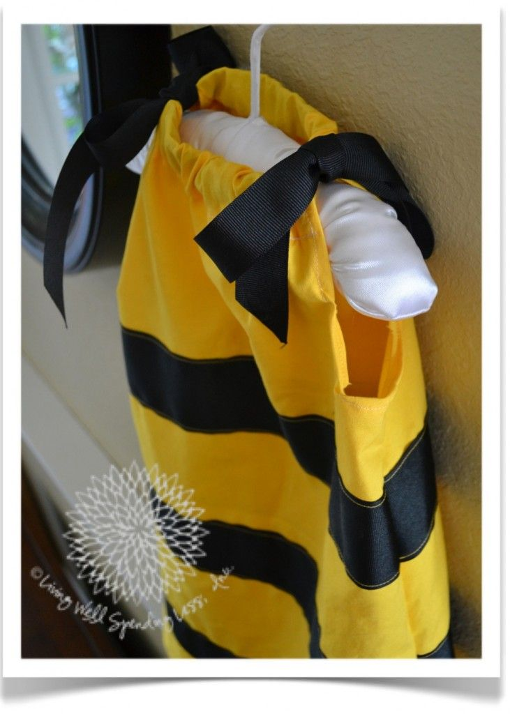 how-to-make-a-bumblebee-costume  put eslatic in a bottom casic and draw smaller for boys costume