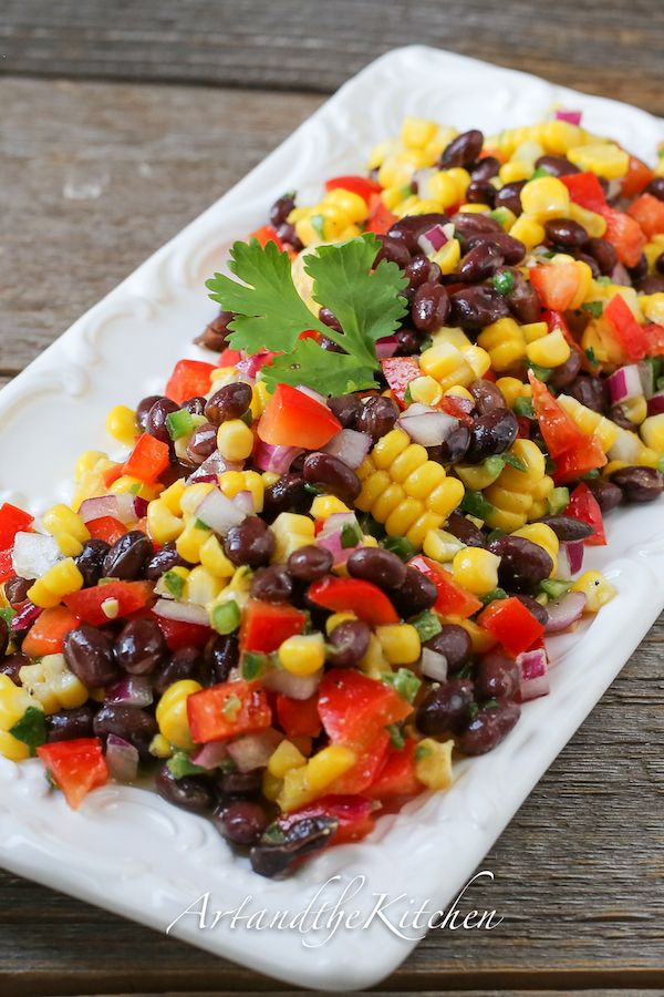 Santa Fe Salad | Art and the Kitchen -this recipe for Santa Fe Salad is perfect for a side dish or lunch meal. Crisp colourful veggies and beans are tossed together with some serious flavour from Jalapeño peppers, lime, cilantro and cumin!