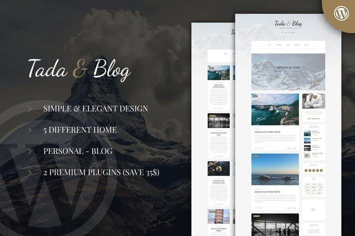 Tada Blog Personal Blog Wordpress Template By Ad Theme On Envato Elements Wordpress Template Blog Themes Wordpress Wordpress Blog