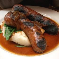 Homemade pork, leek and mustard sausage.