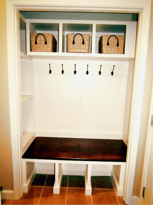 A possible solution to the laundry room closet from hell! A coat closet conversion!