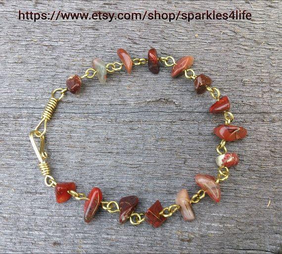 Brown Gemstone Brass Bracelet by sparkles4life on Etsy, $40.00