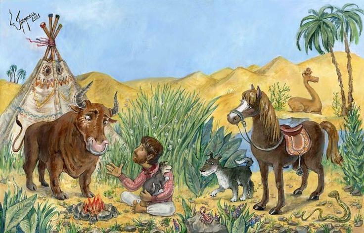 Сообщество иллюстраторов / Иллюстрации / Наталья Грофпель / Киплинг. Откуда у верблюда горб,2011