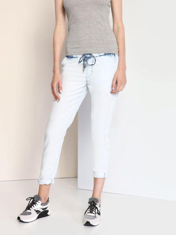 W2017 spodnie długie damskie  niebieskie - DSP0170 DRYWASH