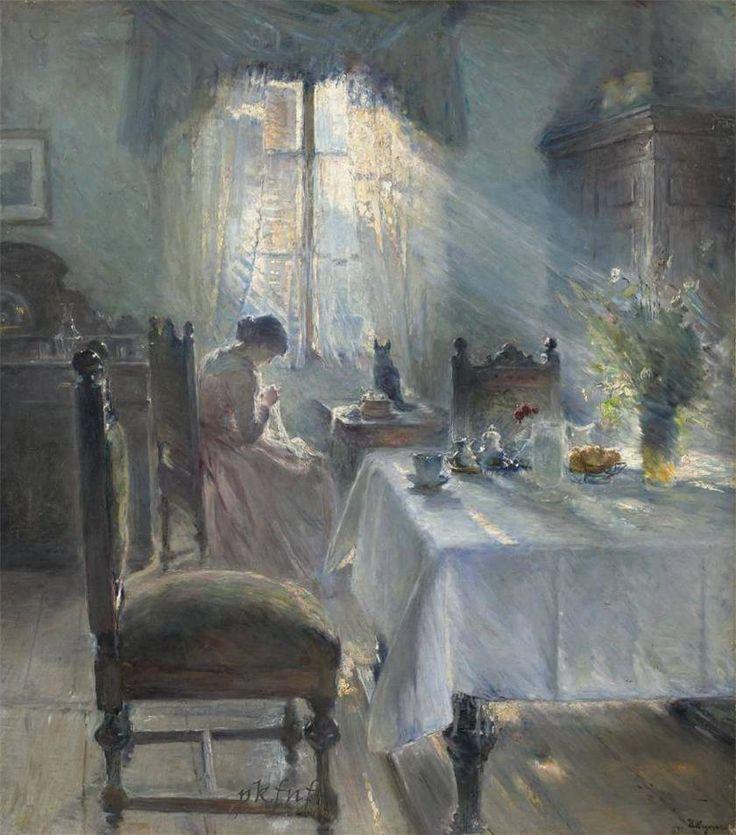 """scintilledivine: """"  Bertha Wegmann (1846- 1926) pittrice danese Donna che cuce in un interno, 1891 """""""