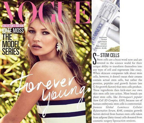 Jeunesse® in Vogue Magazine (July 2013) highlighting LUMINESCE™ cellular rejuvenation serum.