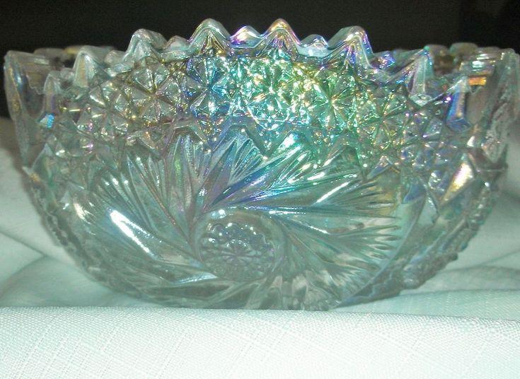 Clear White Iridescent Carnival Glass L. E. Smith Comet In The Stars Bowl A+++ #WhiteCarnivalGlass
