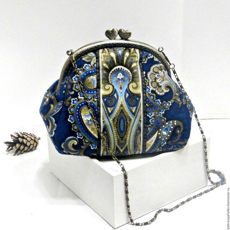 Купить Женская косметичка фермуар Клатч сумка Синее Золото Подарок подруге - косметичка дорожная