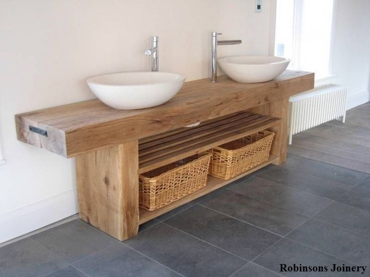 Oak sink basin wash stand solid rustic oak Bespoke hand crafted in the UK | eBay