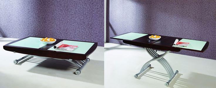 <strong>Mesa de centro e jantar:</strong> fabricada em madeira, vidro e aço, é expansível para ser utilizada como mesa de jantar. É uma boa dica para aproveitar espaços pequenos.