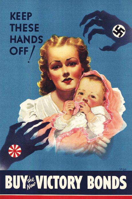 Posters like this one played on people's worst fears so they would fork over their cash for Victory Loans, or Victory Bonds. These were loans to the federal government for increased war spending.