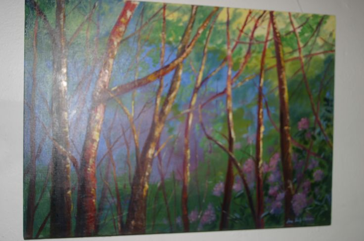 45. Forest at Evening, Oil on canvas, €450 by Anne O'Keeffe-Camon