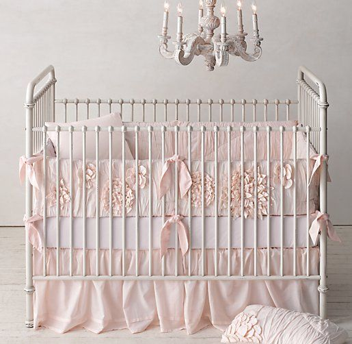 Washed Appliquéd Fleur Nursery Bedding -- Restoration Hardware. I'm tempted even though I'm not crazy in love with pink.... So cute