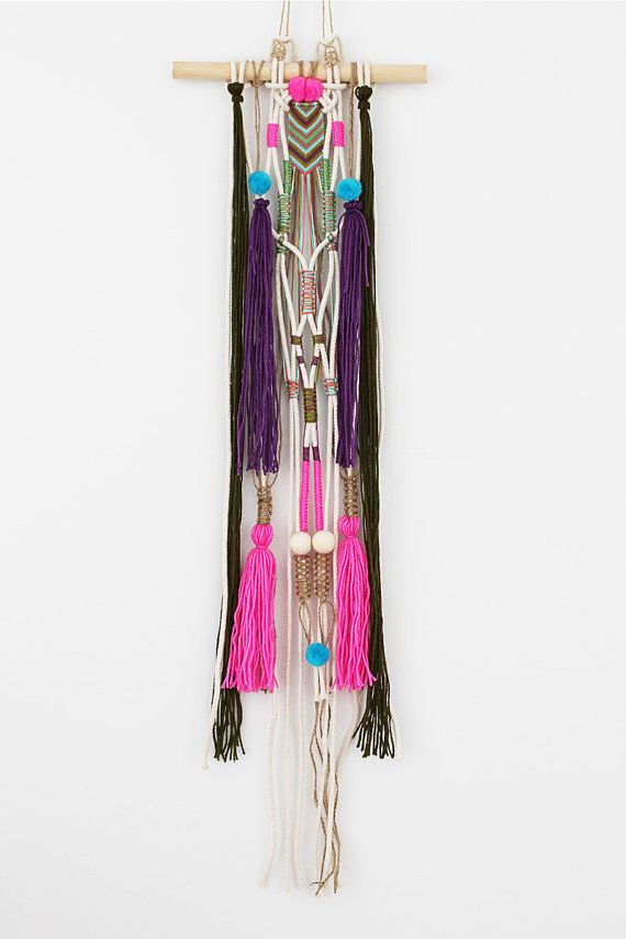 NAIBU Unique wall hanging macrame with beads, pompoms, heaps of beautiful…