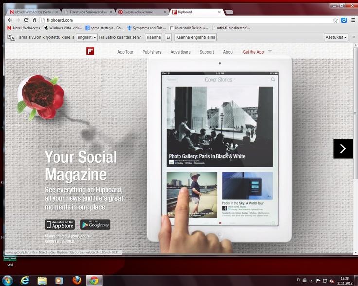 Flipboard on ohjelma, joka kokoaa yhteen kaikki  kiinnostavat lähteet ja koostaa niistä helppolukuisen sanomalehti-tyyppisen julkaisun, jota on erittäin miellyttävä käyttää.