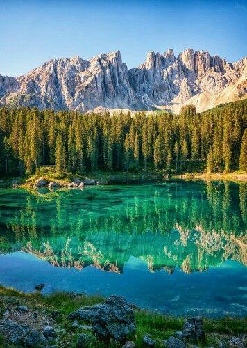 Lago di Carezza, Bolzano, Trentino Alto Adige, South Tyrol.