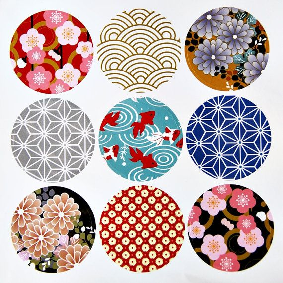 9 Round Japanese Kimono Design Paper Sticker Labels. 4cm Diameter. Sakura. Floral. Goldfish. Gift Wrapping. Washi Paper Design