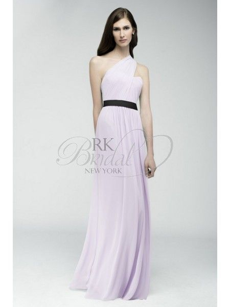 RK Bridal: Watters Bridesmaids Fall 2014- Style 6541 Genoa - Crinkle chiffon, floor length skirt with shirred one-shoulder neckline. Cotton grosgrain ribbon at waist.