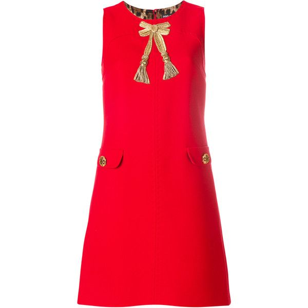 Dolce & Gabbana appliqué A-line dress (110,535 PHP) ❤ liked on Polyvore featuring dresses, red, red pattern dress, red applique dress, red a line dress, pattern dress and red print dress