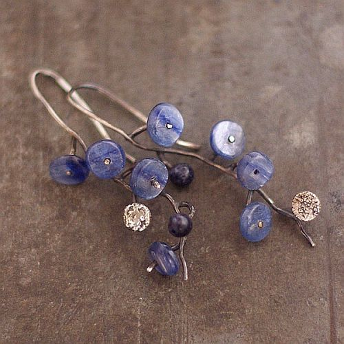 Flower earrings • kyanite earrings • flowers earrings • earrings sterling silver…