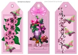 Three Pretty floral pink bookmarks toppers on Craftsuprint - View Now!