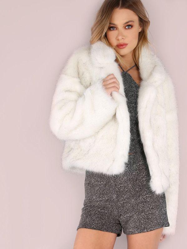 White Stand Collar Open Front Faux Fur Coat -SheIn(Sheinside ... bce942879555