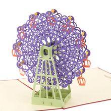 3D Handgemaakte Verjaardagskaart Pop Up Reuzenrad Ontwerp Kirigami Vouwen Kerst Halloween Thanksgiving Dag Postkaart met Envelop(China (Mainland))
