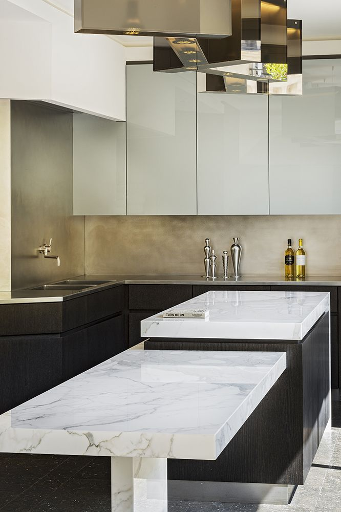 Glamorous marble and metallic kitchen // Charles Zana - Architect
