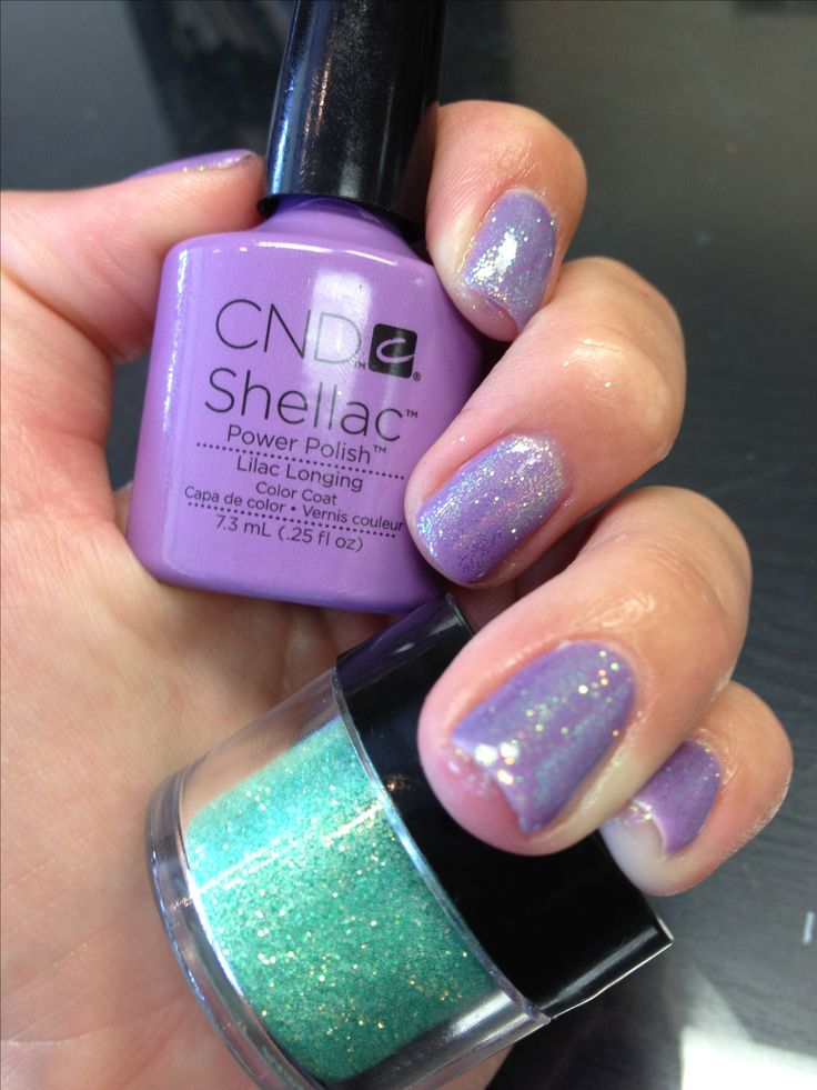 CND shellac with glitter additives