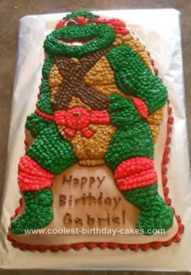 Homemade Teenage Mutant Ninja Turtle Birthday Cake: I made this Teenage Mutant Ninja Turtle Birthday Cake for my son in 2011. I used the Wilton Ninja Turtle cake pan, covered it first with a layer of marshmallow