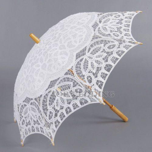 Hochzeit-Regenschirm-Battenburg-Spitze-Lace-Blume-Stockschirm-Braut-Foto-Schirme