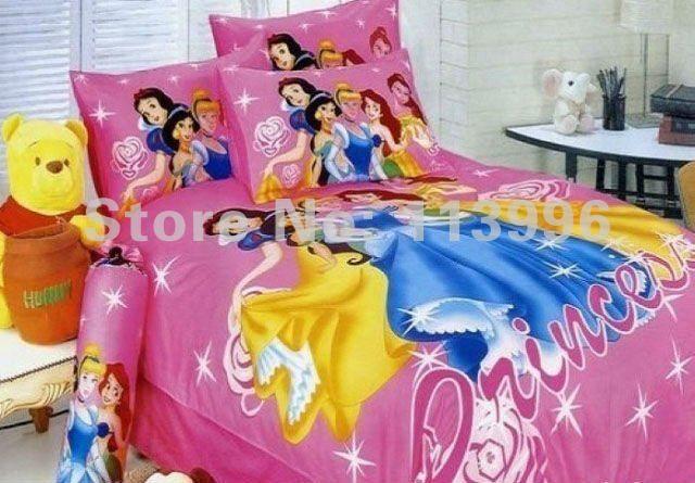 Queen Bed Princess children's bedding set 4PC set kids cartoon Printed boys girls duvet cover pillowslips