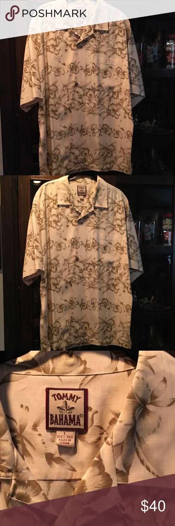 Tommy Bahama shirt Tommy Bahama 💯 silk Hawiian shirt size lg perfect beige & light blue perfect Tommy Bahama Shirts Casual Button Down Shirts
