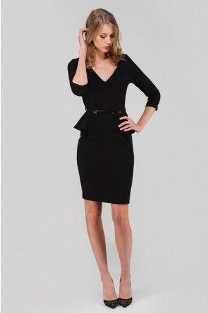 Black Long Sleeve Belted Peplum Dress