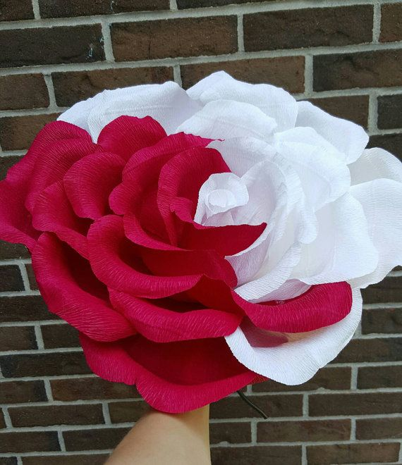 Giant crepe paper flower in mix of red and white colors. Oversized rose. Alice in Wonderland party decor. Bridesmaid flower